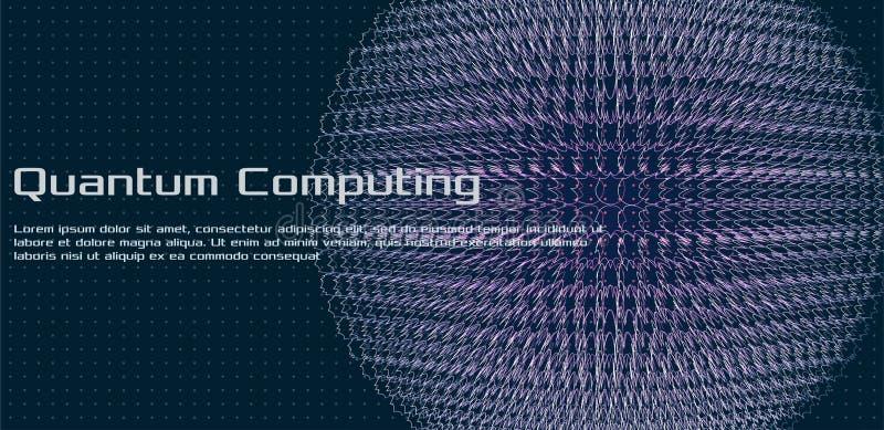 Квантовое вычисление, глубокий уча искусственный интеллект, тайнопись сигнала иллюстрация вектора