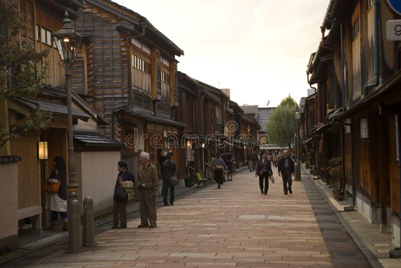 Квартал гейши, Kanazawa, Япония стоковое изображение