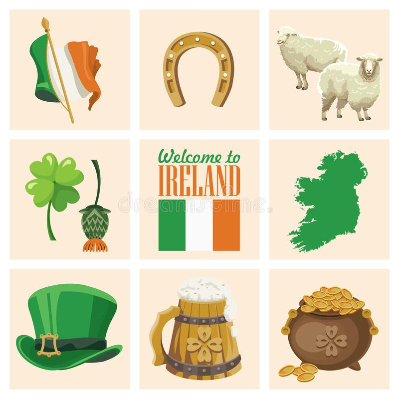 Квартира вектора Ирландии установила с ориентир ориентирами, ирландским замком, зелеными полями иллюстрация штока