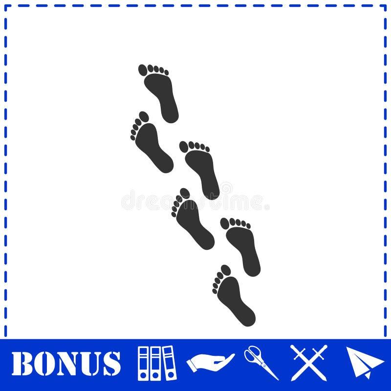 Квартира значка следа ноги иллюстрация вектора