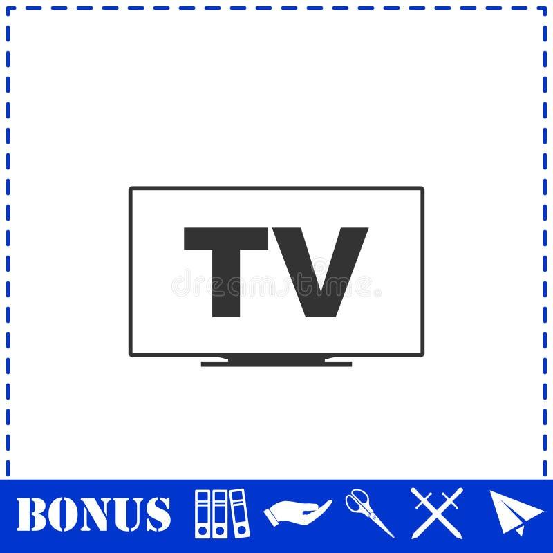Квартира значка ТВ иллюстрация вектора