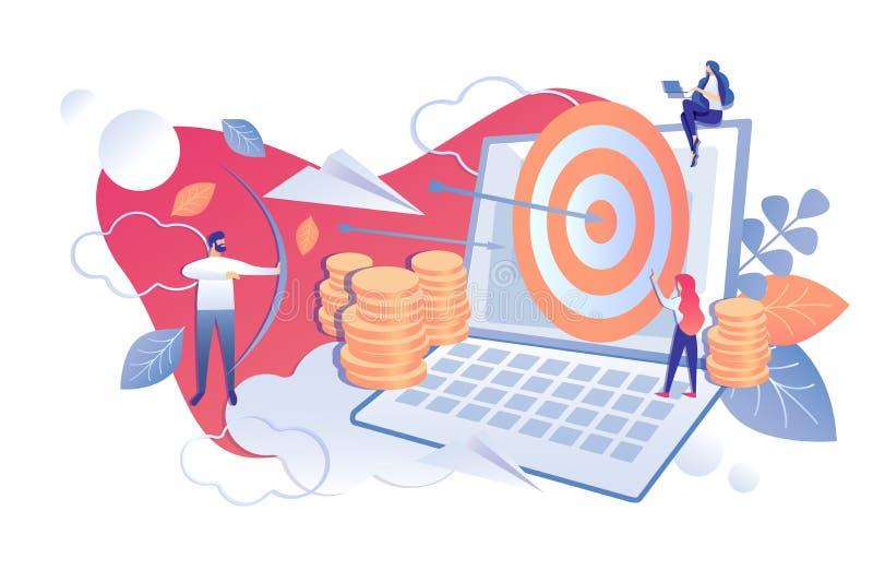 Квартира мультфильма денежного возврата проекта финансового анализа иллюстрация вектора