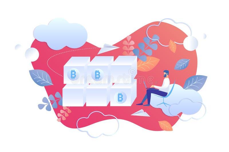 Квартира мультфильма Blockchain анализа технических характеристик бесплатная иллюстрация
