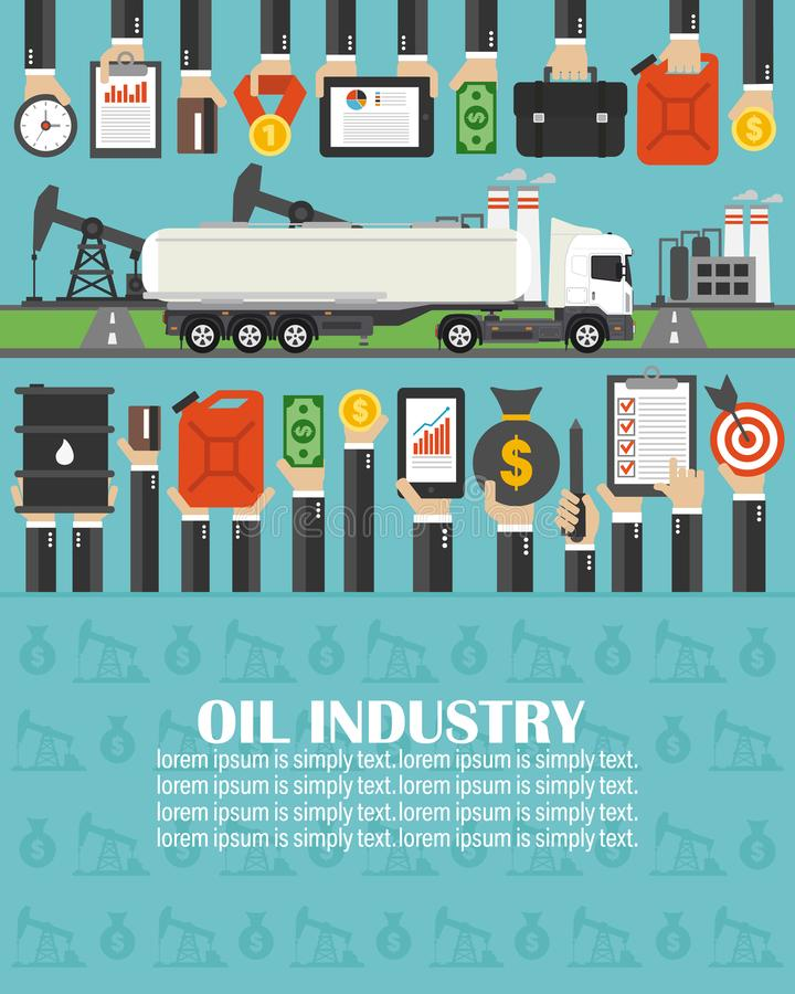 Квартира нефтедобывающей промышленности с автомобилем топливозаправщика бензина r иллюстрация вектора