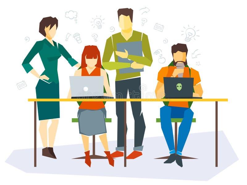 Квартира работников офиса установленная с бизнес-процессом иллюстрация вектора