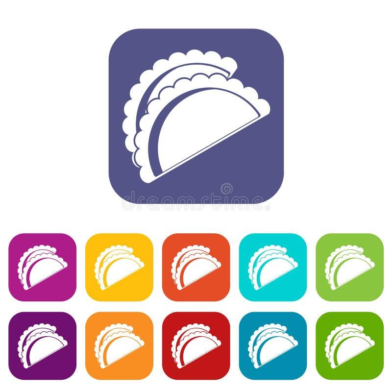 Квартира Empanadas de pollo установленная значками иллюстрация штока