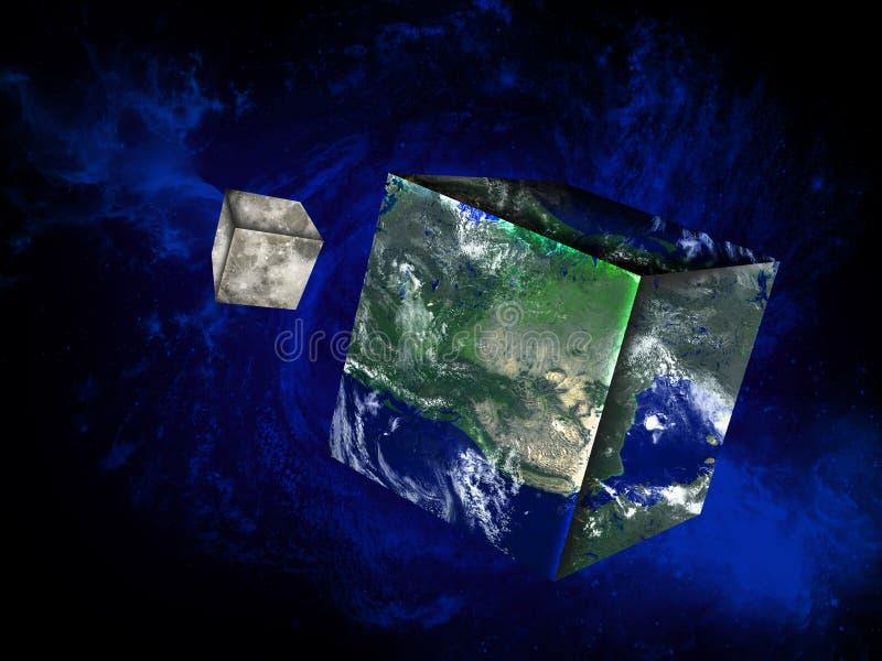 Квадратная земля, луна, космическое пространство иллюстрация штока