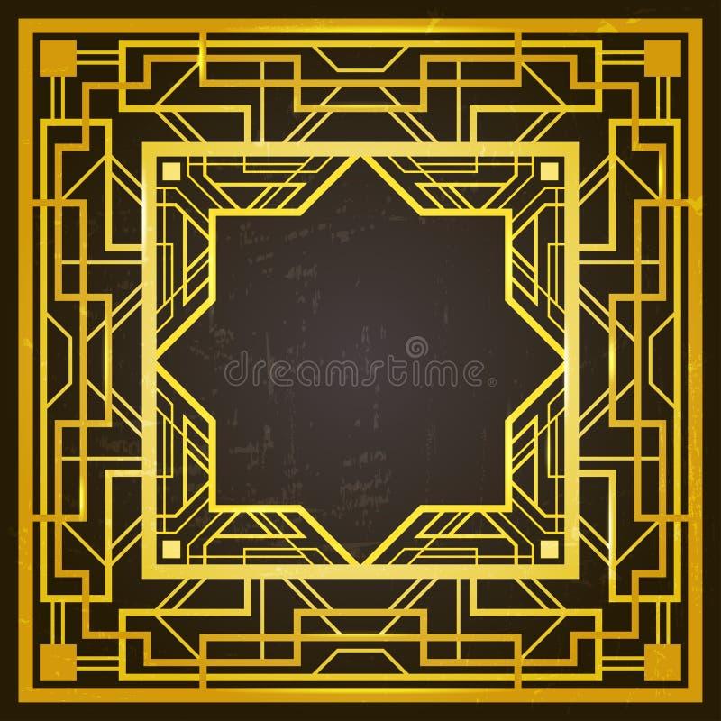 Квадратная золотая и черная ретро рамка, стиль стиля Арт Деко 1920s иллюстрация вектора