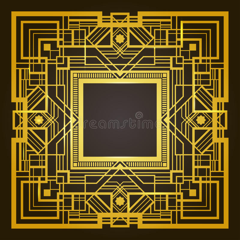 Квадратная золотая и черная ретро рамка иллюстрация штока