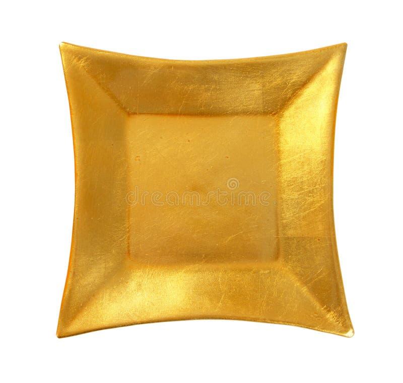 Квадратная золотая посуда стоковая фотография rf
