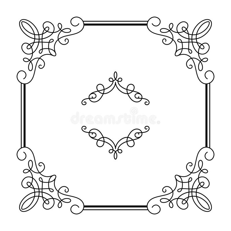 Квадратная каллиграфическая рамка в ретро стиле на белизне иллюстрация вектора