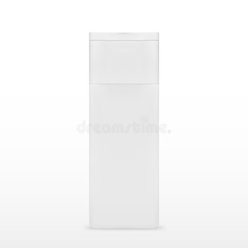 Квадратная косметика или бутылка гигиены белая пластичная геля, жидкостного мыла, лосьона, сливк, шампуня иллюстрация штока