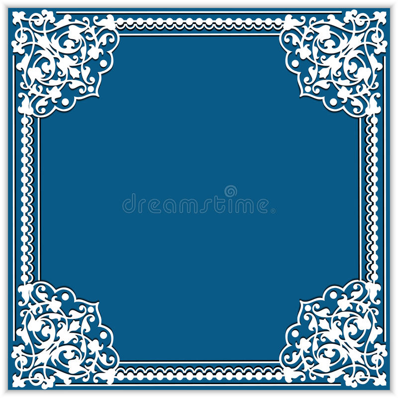 квадратная рамка бумаги выреза с орнаментом угла шнурка иллюстрация штока