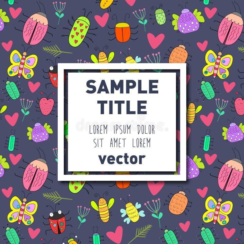 Квадратная рамка на картине насекомого иллюстрация вектора