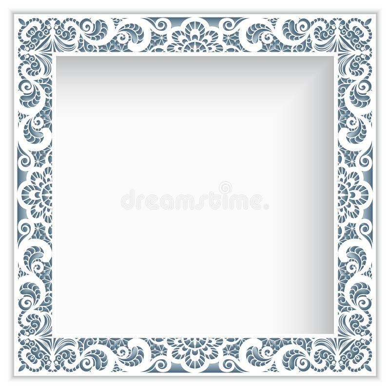 Квадратная рамка с границей шнурка бумаги выреза иллюстрация штока