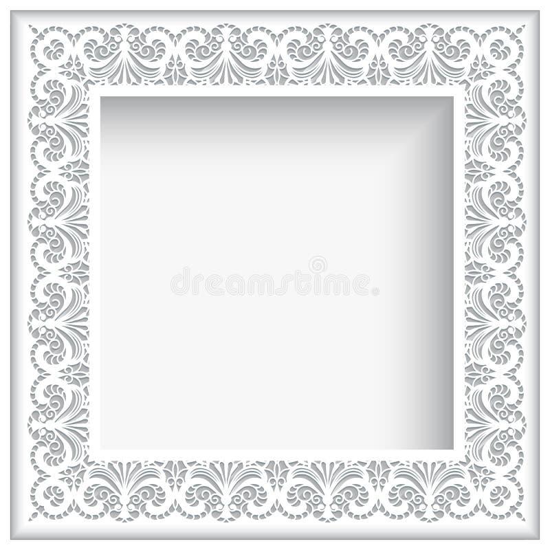 Квадратная рамка шнурка белой бумаги иллюстрация штока