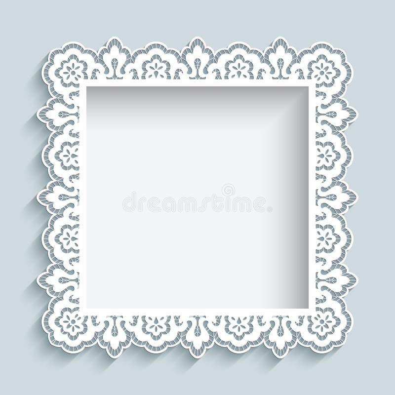 Квадратная рамка шнурка бумаги выреза бесплатная иллюстрация