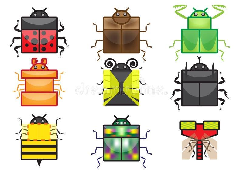 Квадратное собрание значка насекомого иллюстрация вектора
