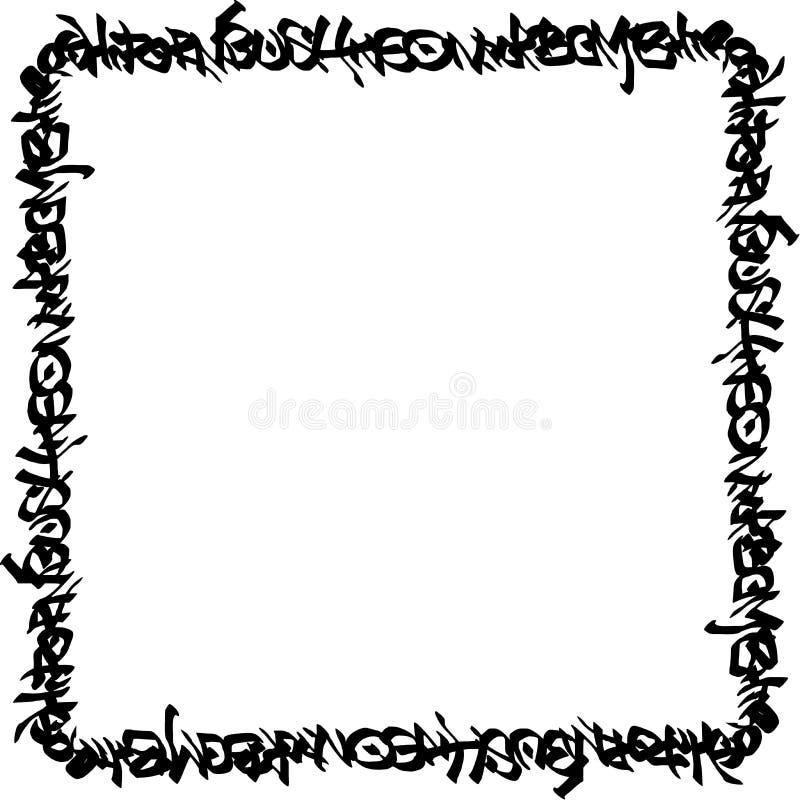 Квадратные граффити черноты рамки маркируют картину на белизне иллюстрация вектора