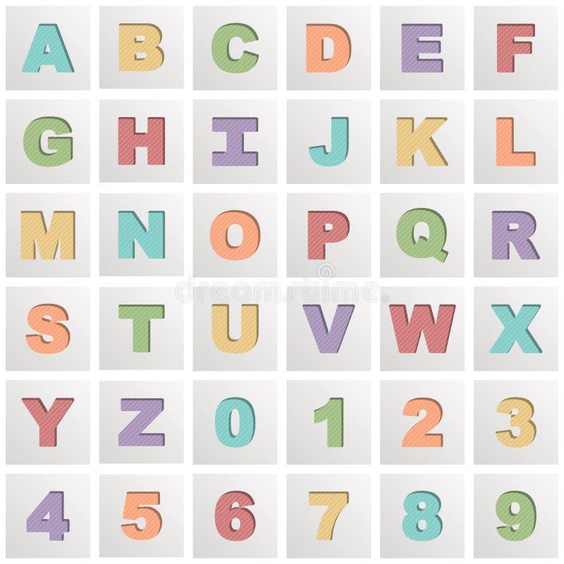 Квадратные значки алфавита иллюстрация вектора
