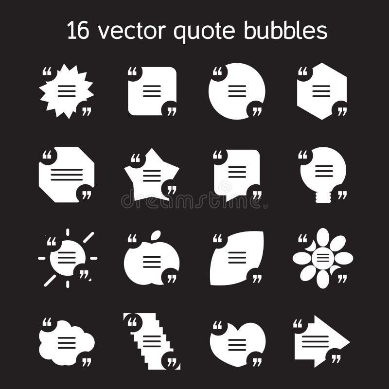 Квадратные установленные пузыри текста цитаты бесплатная иллюстрация