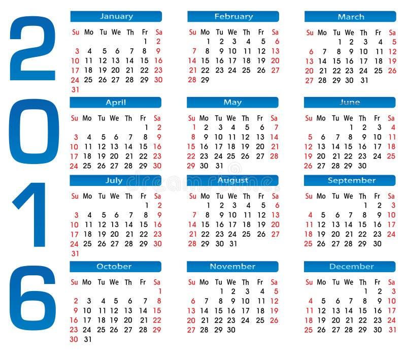 Квадратный календарь 2016 иллюстрация вектора