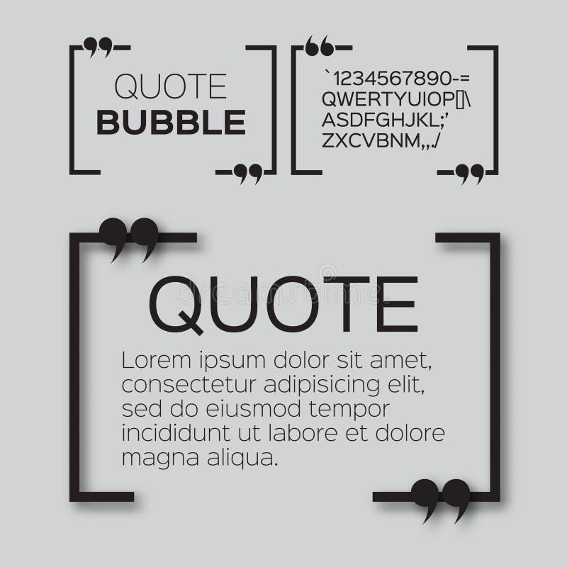 Квадратный пузырь цитаты иллюстрация вектора