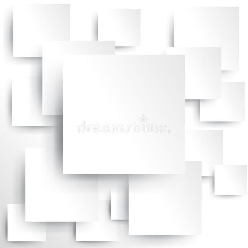 Квадратный элемент на белой бумаге с тенью (вектор) иллюстрация штока