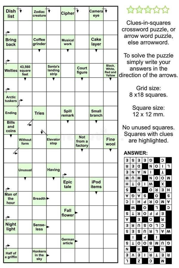квадраты головоломки кроссворда ключей arrowword иллюстрация штока