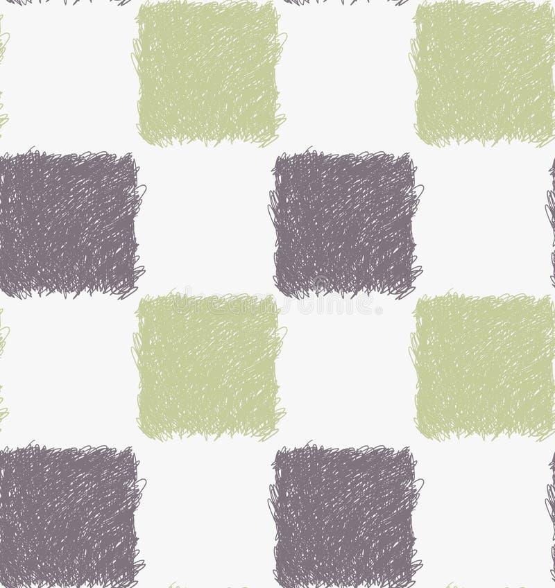 Квадраты насиженные карандашем серые и зеленые иллюстрация вектора