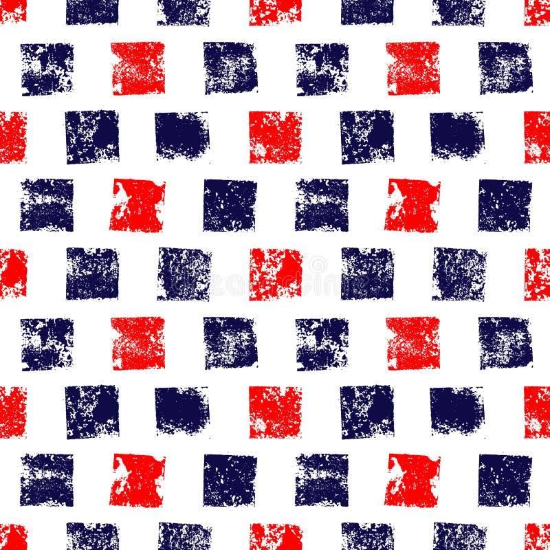 Квадраты grunge голубого красного цвета и белизны печатают геометрическую безшовную картину, вектор иллюстрация штока