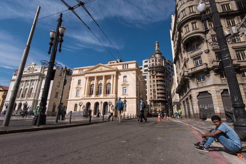 Квадрат в Сан-Паулу стоковые фотографии rf