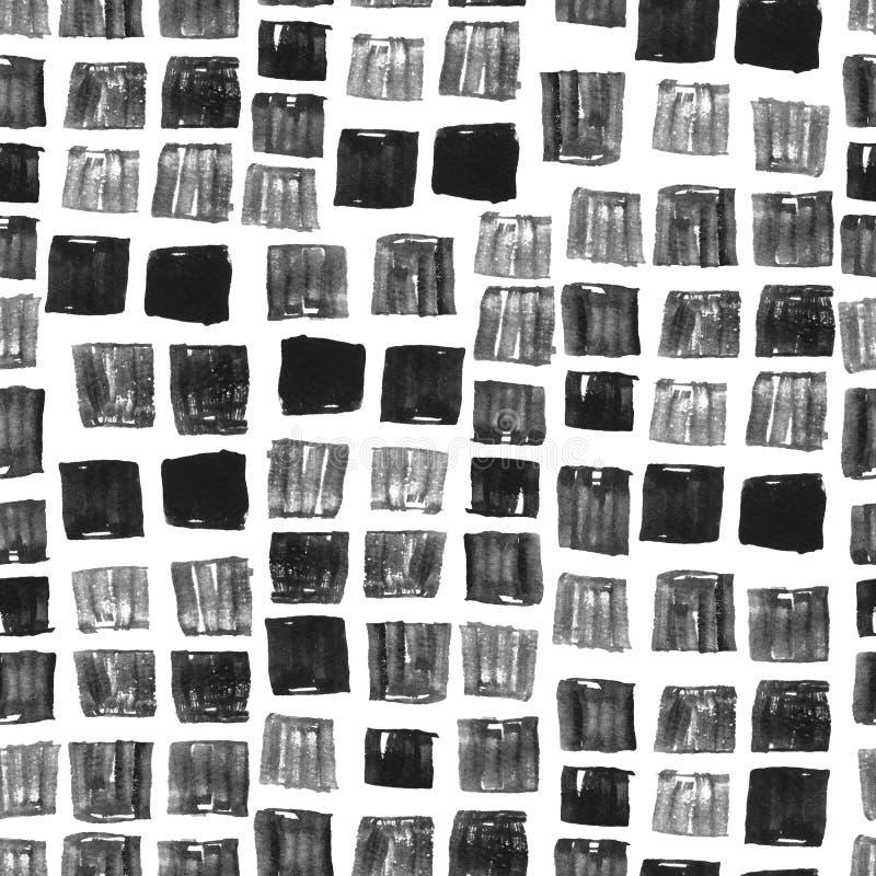 Квадрат картины акварели кроет серую мозаику черепицей стоковые фотографии rf