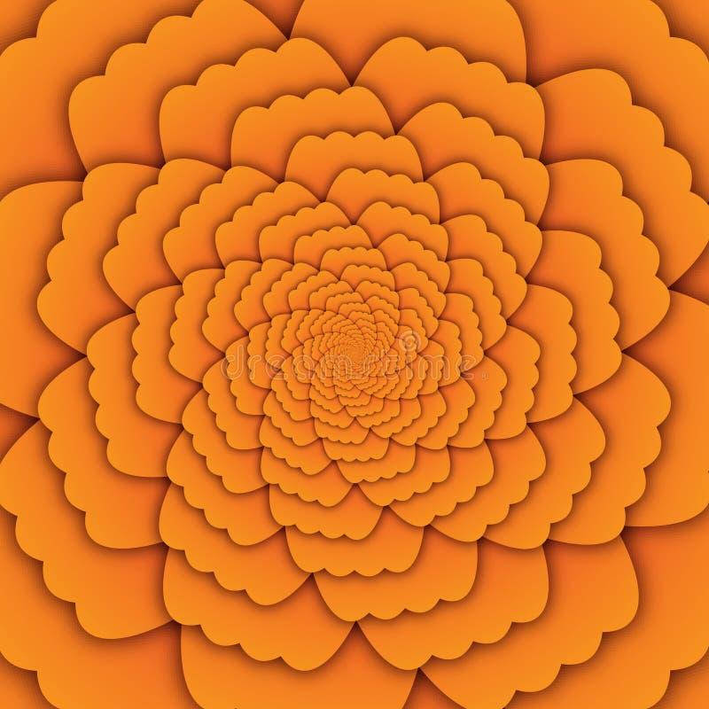 Квадрат предпосылки желтого цвета картины мандалы цветка конспекта искусства иллюзии декоративный иллюстрация штока