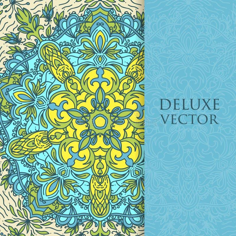 Квадрат приглашает шаблон Приглашение вектора с элементом дизайна мандалы Круглый орнамент цветка Декоративная винтажная печать Р иллюстрация штока