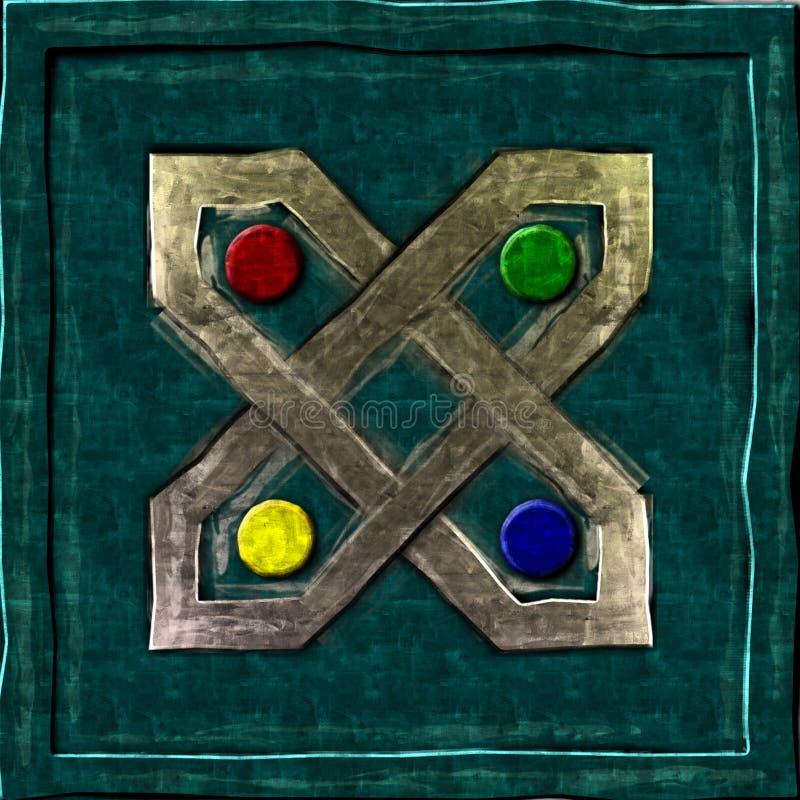 Квадрат символа коробки золота коричневый зеленый стоковые фотографии rf