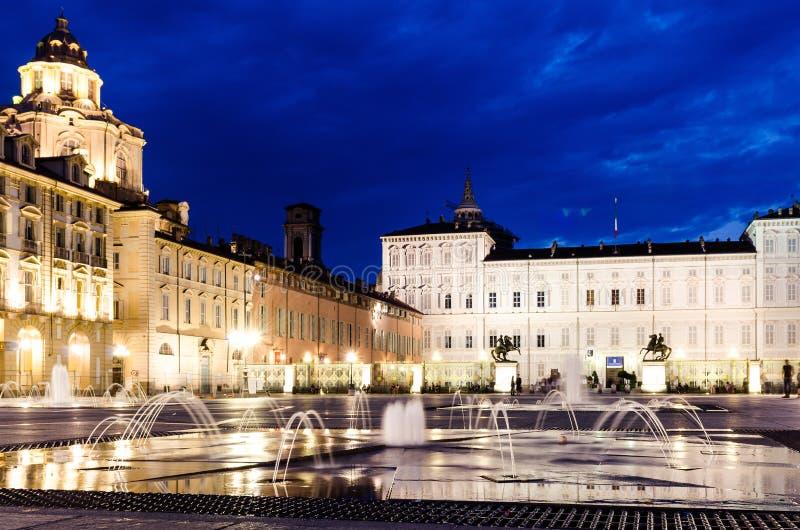 Квадрат Турина Castello, королевский дворец стоковые фотографии rf