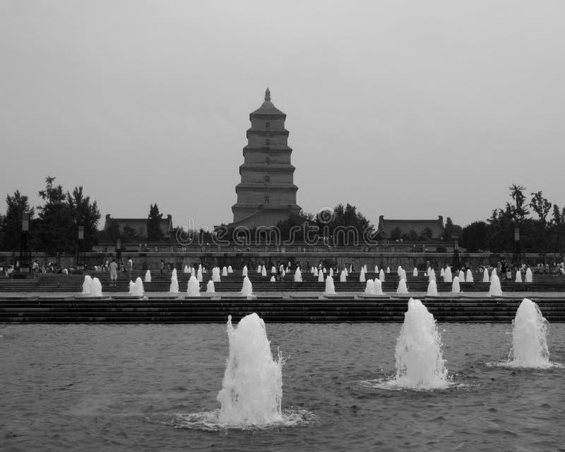 Квадрат фонтана Сианя музыкальный стоковые фотографии rf