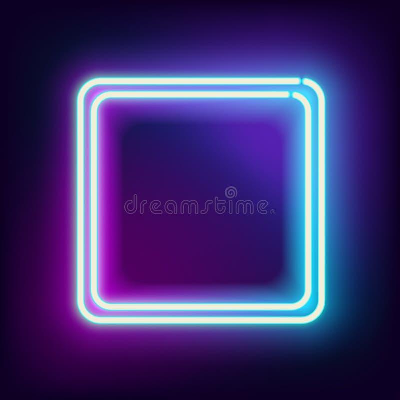 Квадрат Lowing электрический, неоновая лампа иллюстрация штока
