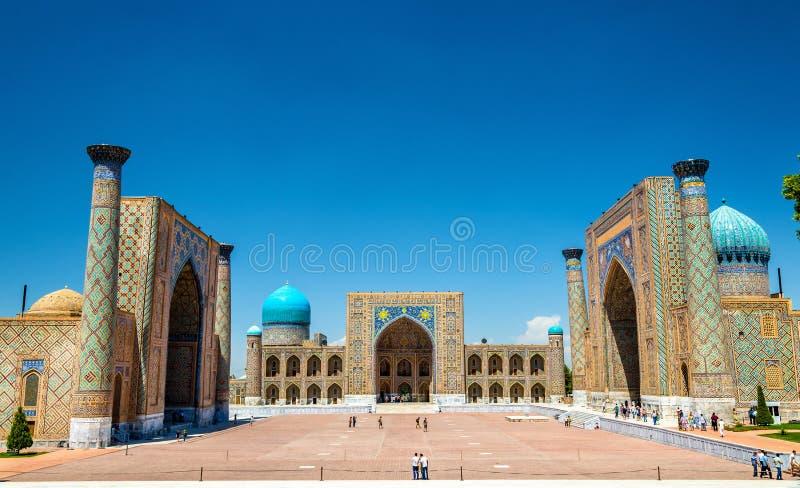 Квадрат Registan в Самарканде - Узбекистане стоковое фото rf