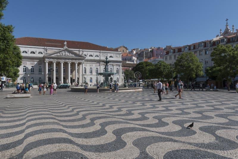 Квадрат Rossio (Dom Педра IV), Лиссабон стоковые изображения rf