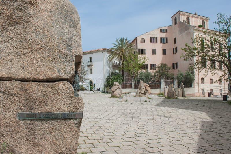 Квадрат Sebastiano Satta Нуоро (Сардиния - Италия) стоковая фотография