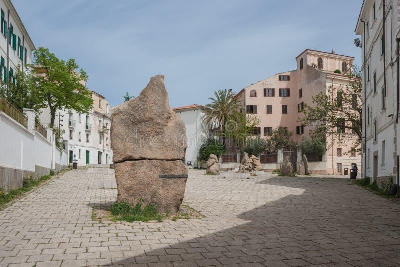 Квадрат Sebastiano Satta Нуоро (Сардиния - Италия) стоковое изображение