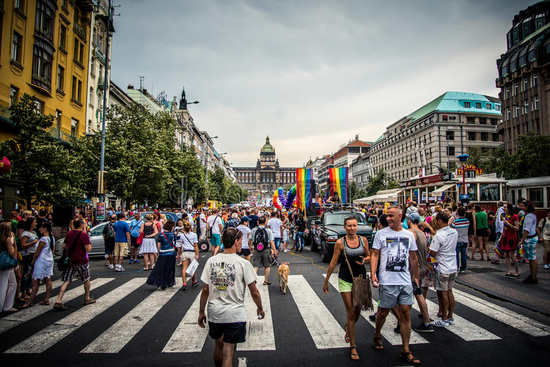 Квадрат Wenceslas - гордость 2015 Праги стоковое изображение rf
