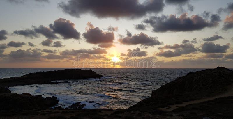 Кейп-Пекора, закат в Сардинии стоковые фотографии rf
