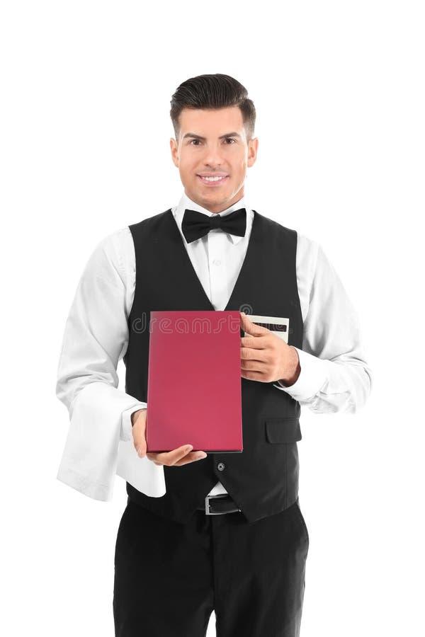Кельнер держа меню стоковое фото rf