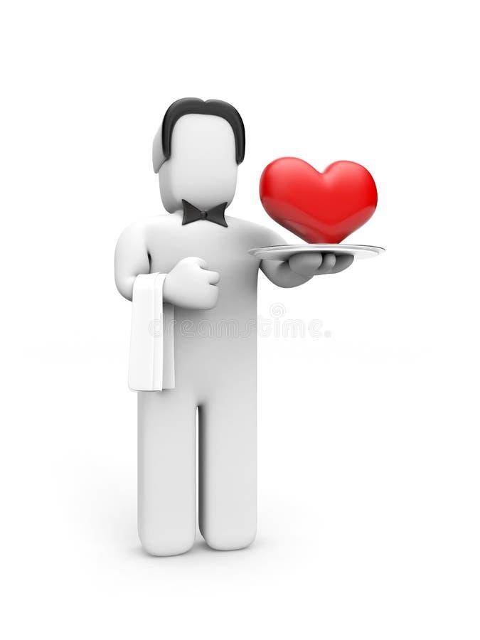 кельнер диска сердца иллюстрация штока