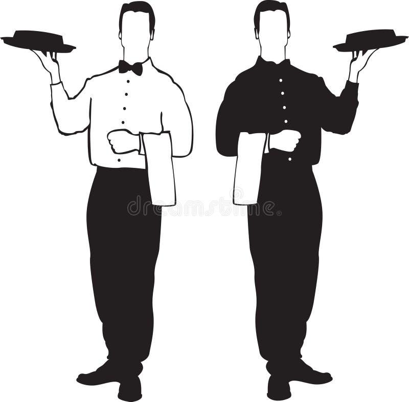кельнер обслуживания иллюстраций иллюстрация вектора