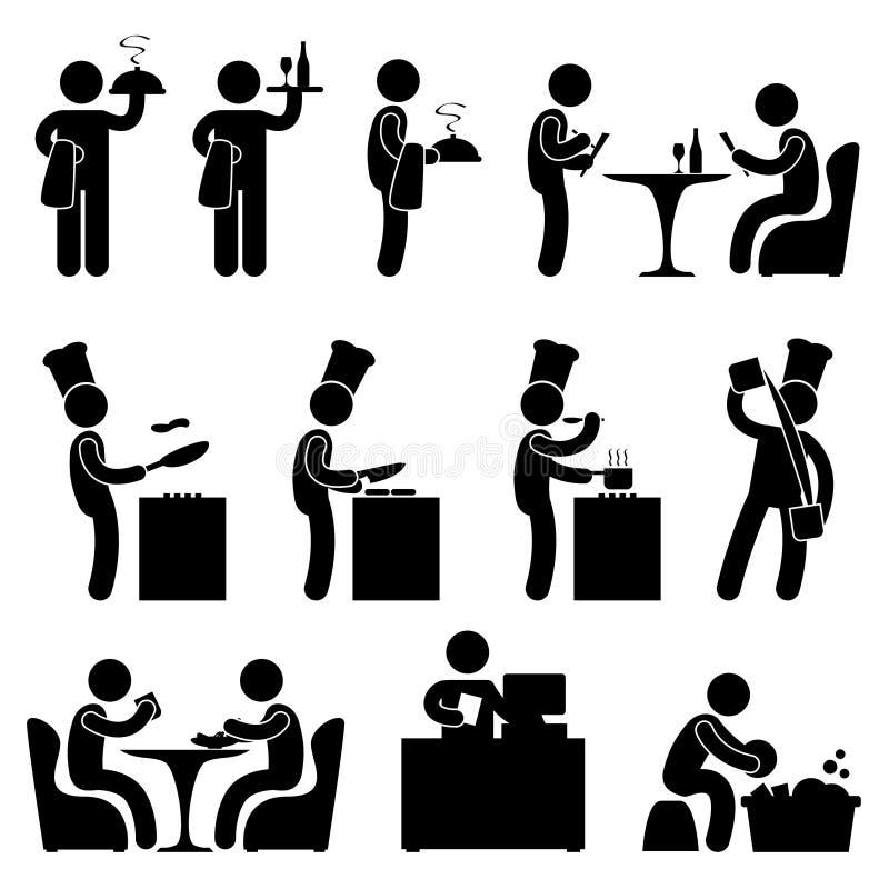 кельнер ресторана людей человека иконы клиента шеф-повара sy иллюстрация вектора