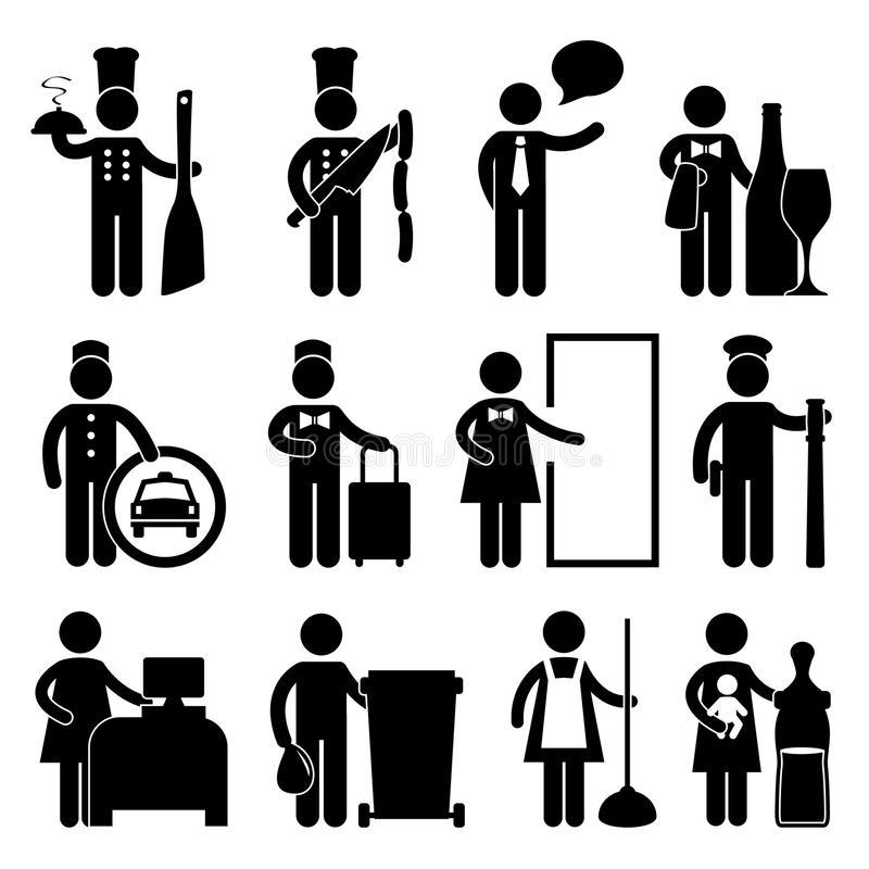 кельнер pictogram водителя шеф-повара дворецкия bellman иллюстрация штока